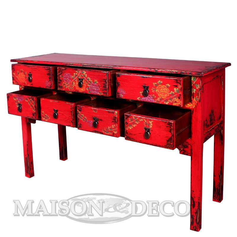 Sbs 197 m p baozhai rustic table with painting maison for Furniture yogyakarta