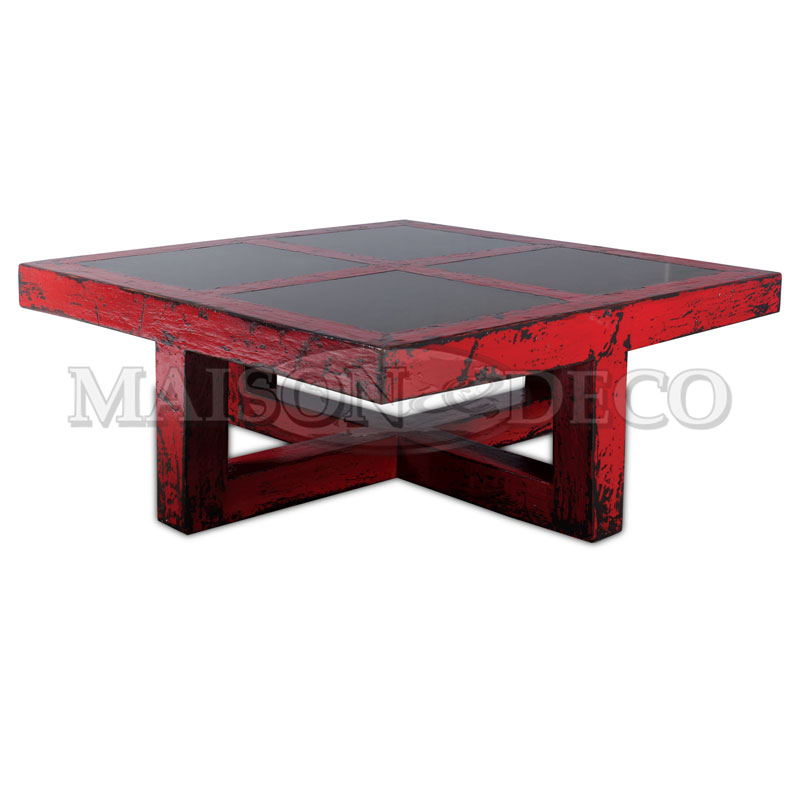 Rustic coffee table with natural stone maison et deco for Furniture yogyakarta