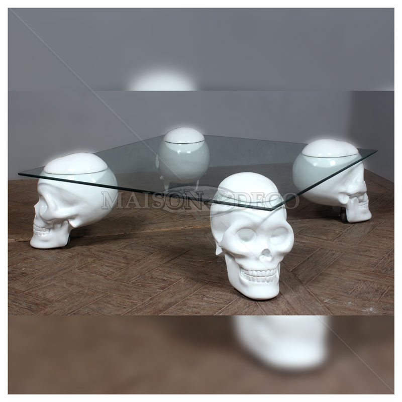 Clear Skull Coffee Table Resin Furniture Maison et Deco Factory